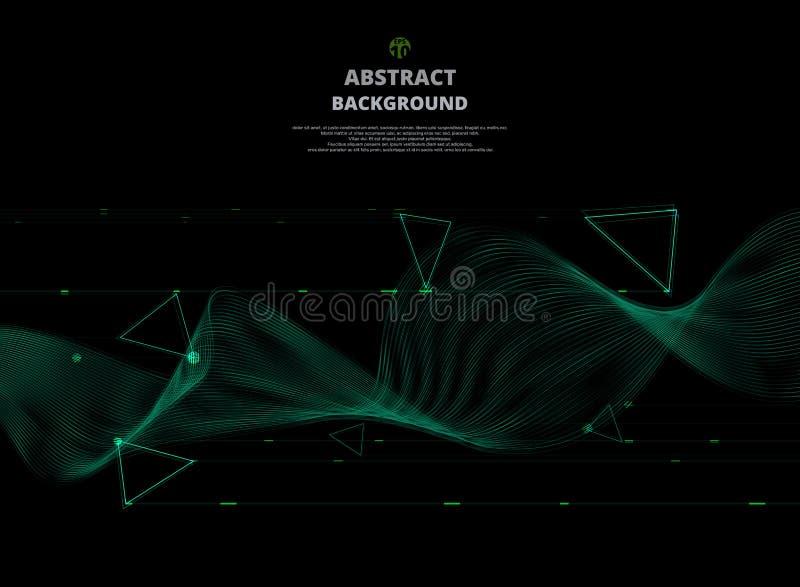Abstrakt begrepp av den abstrakta neonbandvågen på digital svart backgroun stock illustrationer