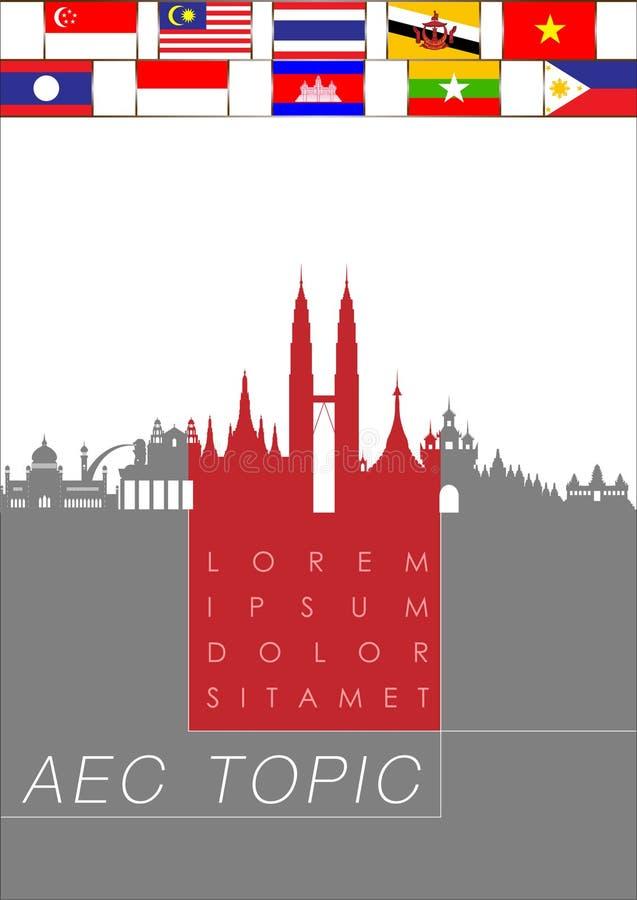 Abstrakt begrepp av ekonomisk gemenskap för ASEAN, AEC vektor illustrationer