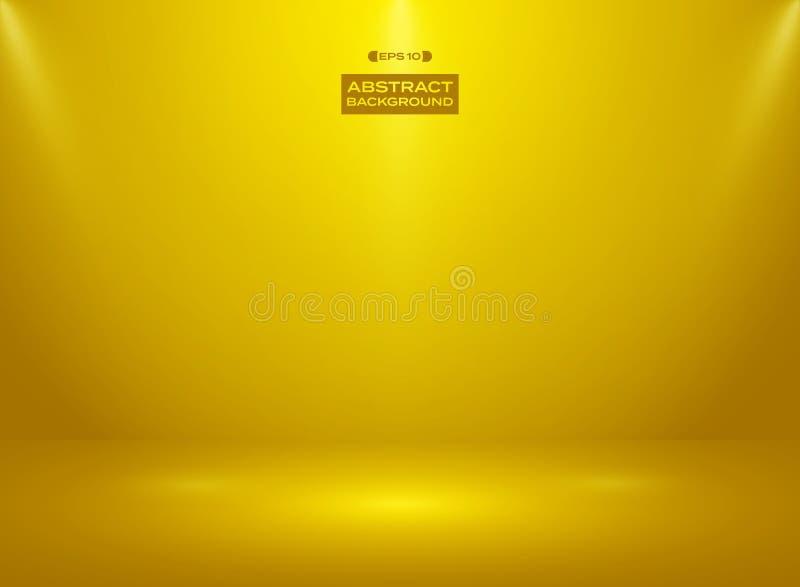 Abstrakt begrepp av guld- färgfärg i studiorumbakgrund med strålkastare royaltyfri illustrationer