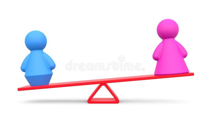 Abstrakt begrepp av jämställdhet stock illustrationer