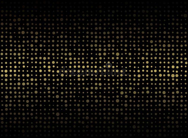 Abstrakt begrepp av mörk bakgrund med liten blandning storleksanpassad guld- cirkelsha royaltyfri illustrationer