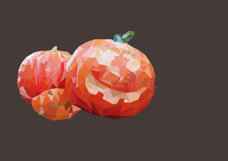 Abstrakt begrepp av poly orange pumpa för allhelgonaafton lågt royaltyfri foto