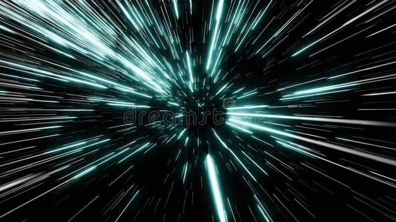 Abstrakt begrepp av snedvrider eller hyperspace rörelse i slinga för blå stjärna arkivfoton