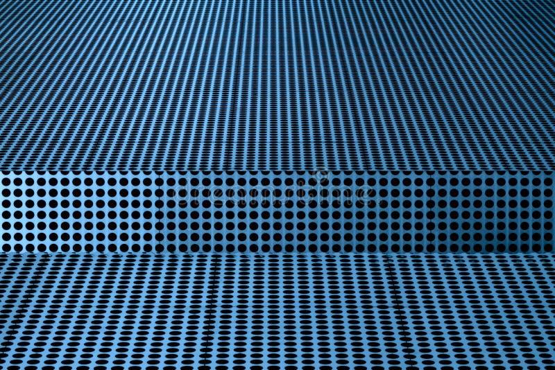 Abstrakt begrepp av svarta prickar mot blå metallisk yttersida royaltyfri bild