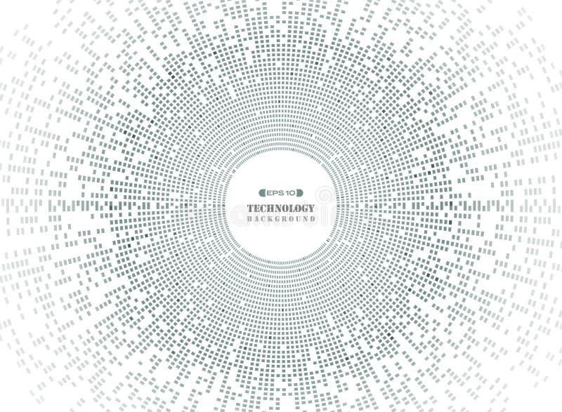 Abstrakt begrepp av teknologi för cirkelfyrkantmodell i mörker - grått PIXEL stock illustrationer