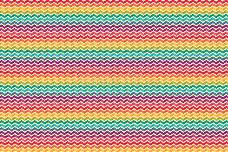 Abstrakt begrepp böjde ojämna färgrika linjer upprepar modeller stock illustrationer