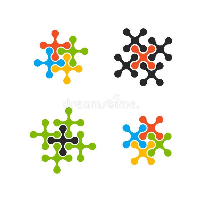 Abstrakt begrepp bevattnar uppsättningen för molekylvektormallen Ansluta marknadsföringen, anslutning, lagarbete och molekylsymbo vektor illustrationer