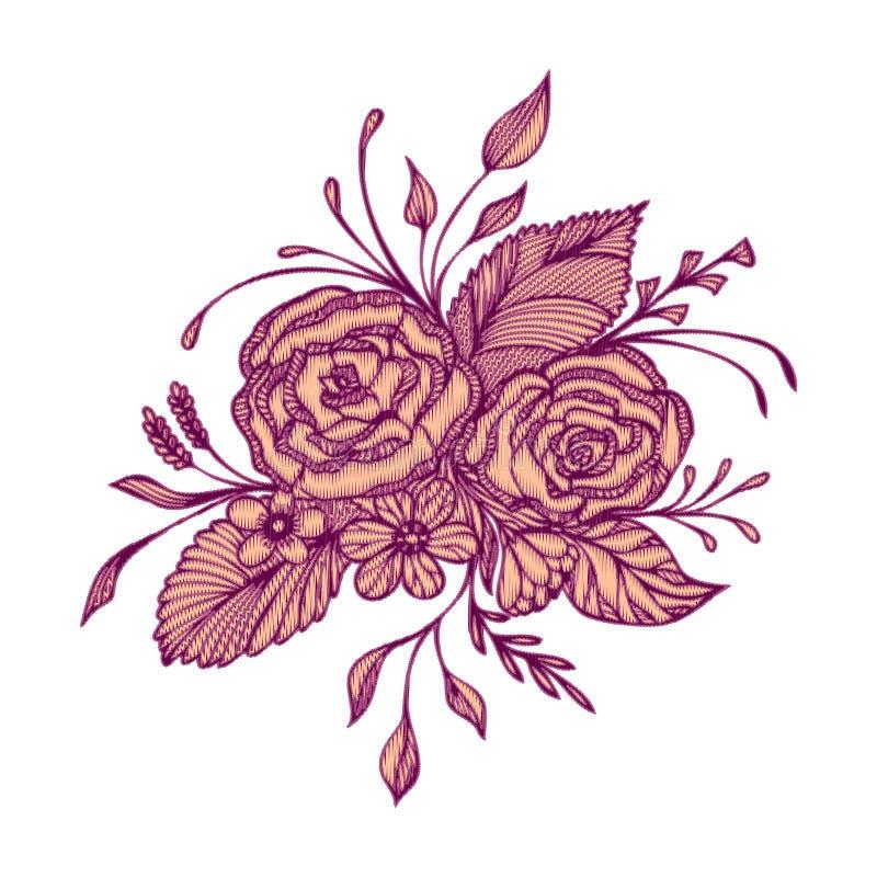 Abstrakt begrepp blommar buketten med handgjord effekt för broderi i burgundy rosa färger på vit vektor illustrationer