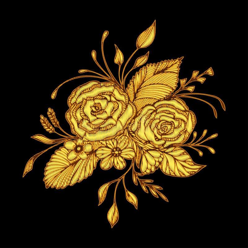 Abstrakt begrepp blommar buketten med handgjord effekt för broderi i guld på svart stock illustrationer