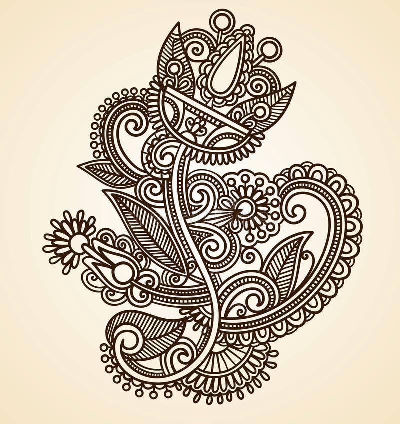 abstrakt begrepp blommar hennamendie royaltyfri illustrationer
