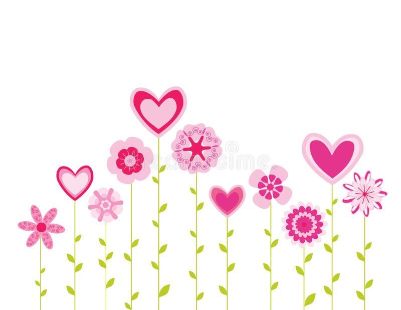 abstrakt begrepp blommar hjärtor vektor illustrationer