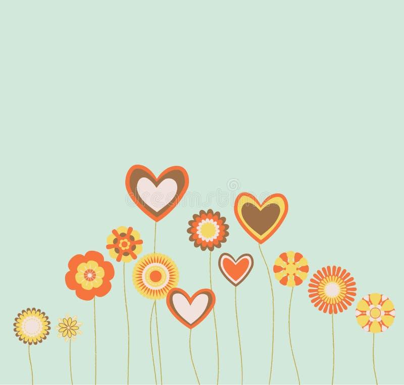 abstrakt begrepp blommar hjärtor stock illustrationer