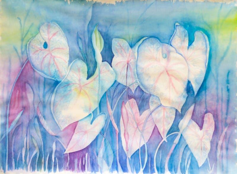 Abstrakt begrepp blommar i pastellfärgade färger - original- vattenfärgmålning royaltyfria foton