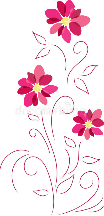 abstrakt begrepp blommar pink stock illustrationer