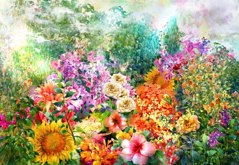 Abstrakt begrepp blommar vattenfärgmålning Mångfärgad vår royaltyfri illustrationer