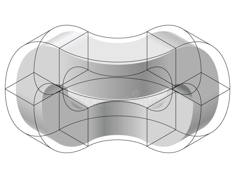 Abstrakt begrepp buktad vektorform Isometriskt märke av den vetenskapliga institutionen, forskningscentrum, biologiska laboratori royaltyfri illustrationer