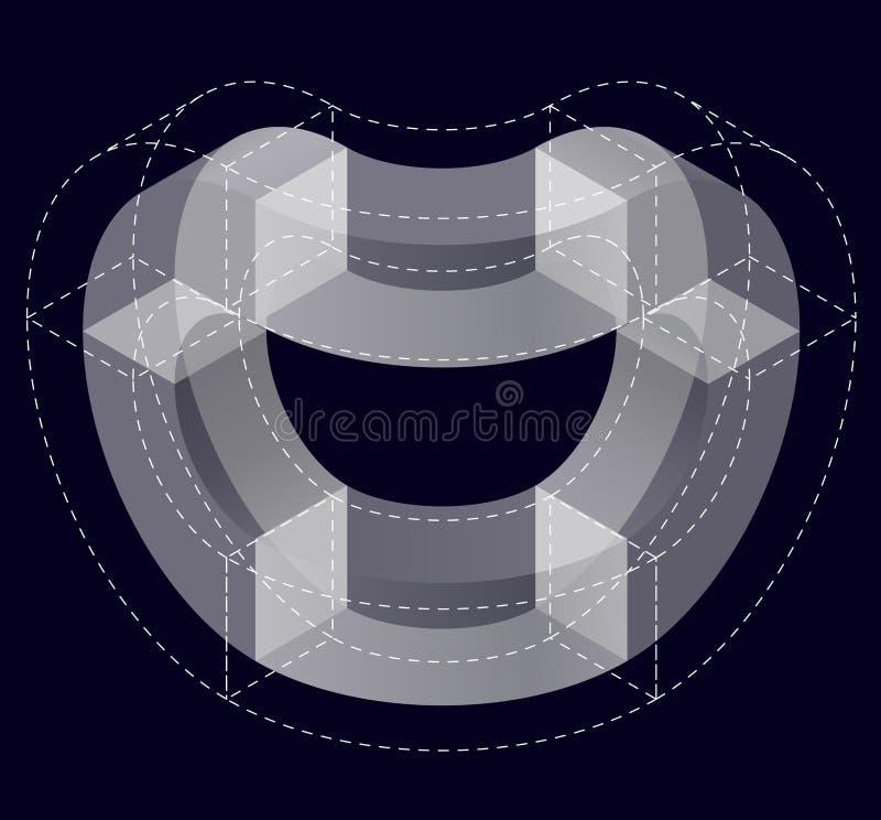 Abstrakt begrepp buktad vektorform på svart Isometriskt märke av den vetenskapliga institutionen, forskningscentrum, biologiska l royaltyfri illustrationer