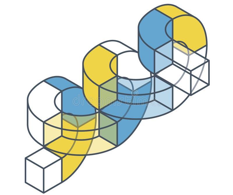 Abstrakt begrepp buktad vektorform Skisserat isometriskt objekt royaltyfri illustrationer