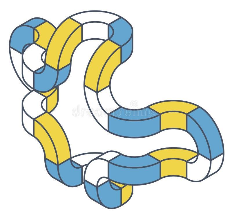 Abstrakt begrepp buktad vektorform Skisserat isometriskt objekt stock illustrationer