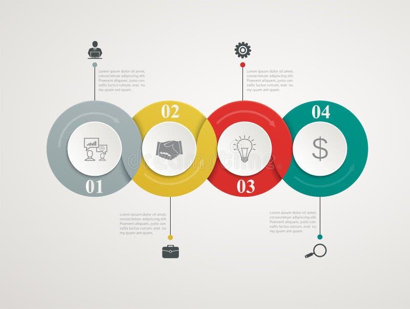 Abstrakt begrepp cirklar delar Infographic med den steg-för-steg strukturen royaltyfri illustrationer