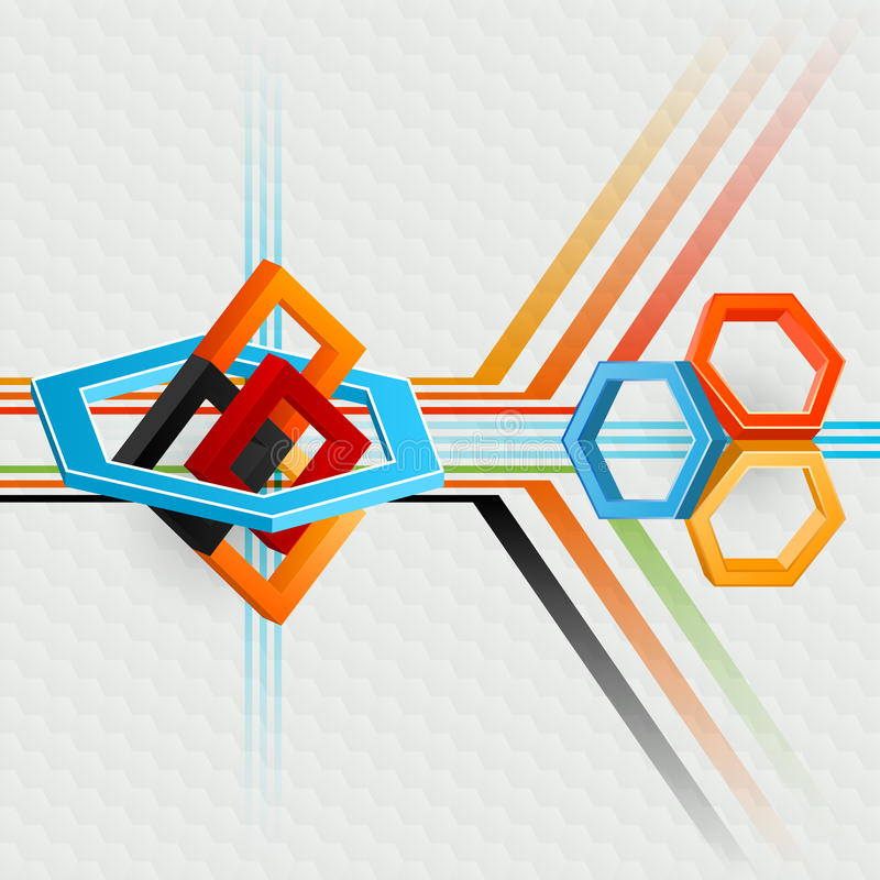 Abstrakt begrepp, dator, designbakgrund med geometrisk sammansättning med sexhörningar och fyrkanter royaltyfri illustrationer