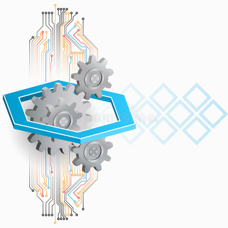 Abstrakt begrepp, dator, designbakgrund med kugghjul och elektronisk strömkrets royaltyfri illustrationer