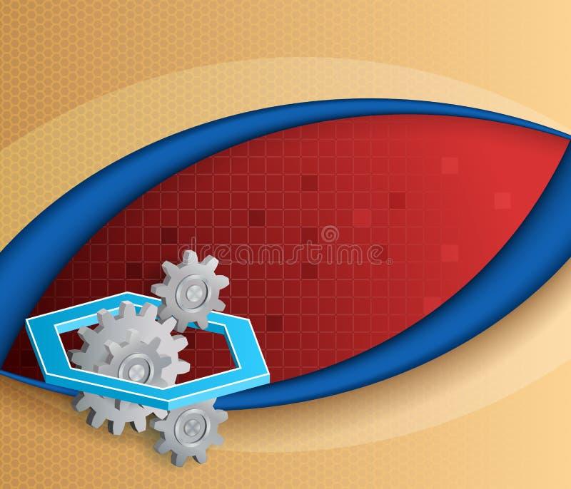 Abstrakt begrepp, dator, designbakgrund med kugghjulet och sexhörningar vektor illustrationer