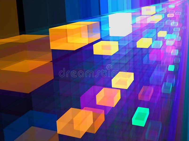 Abstrakt begrepp färgad frambragd bild för kuber digitalt vektor illustrationer