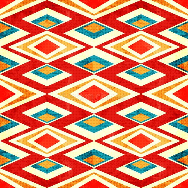 Abstrakt begrepp färgade polygoner i retro stilgrunge verkställer den sömlösa modellen stock illustrationer