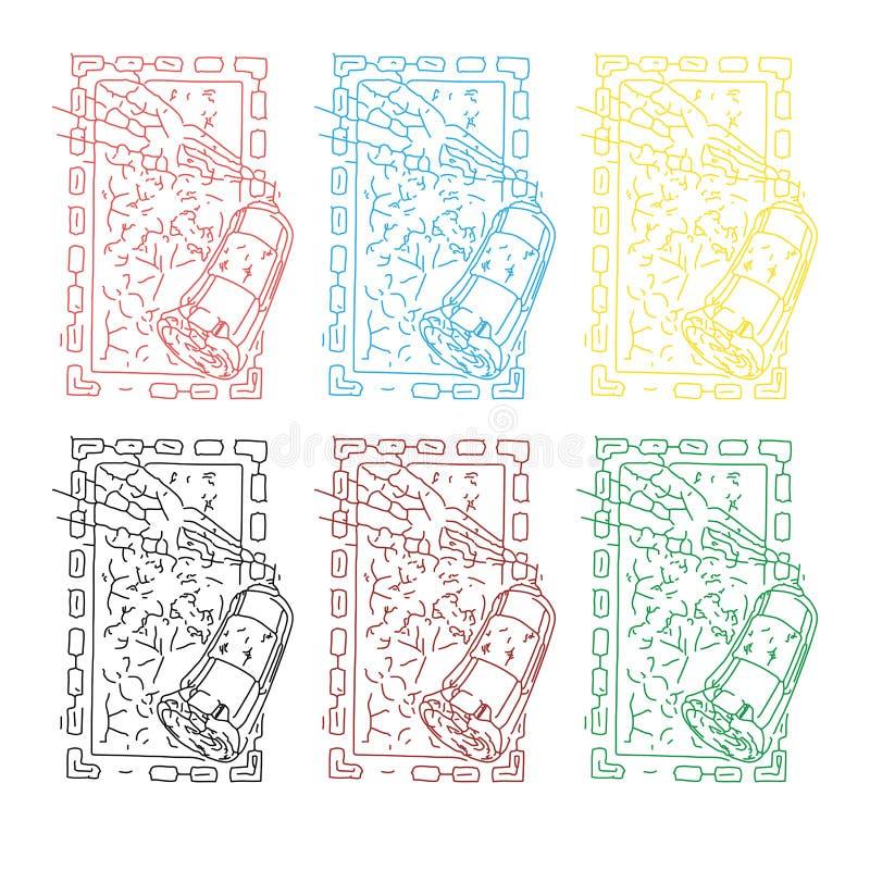 Abstrakt begrepp färgade uppsättningen av bilden för sprejmålning i fyrkantig ram stock illustrationer