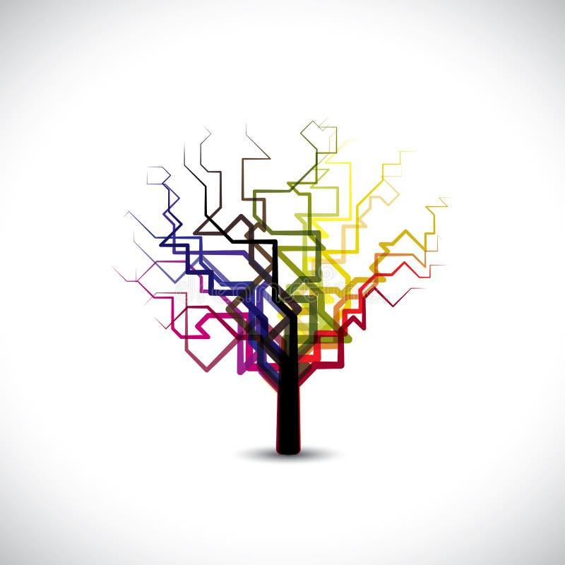 Abstrakt begrepp färgrikt grafiskt treesymbol i digital nolla royaltyfri illustrationer