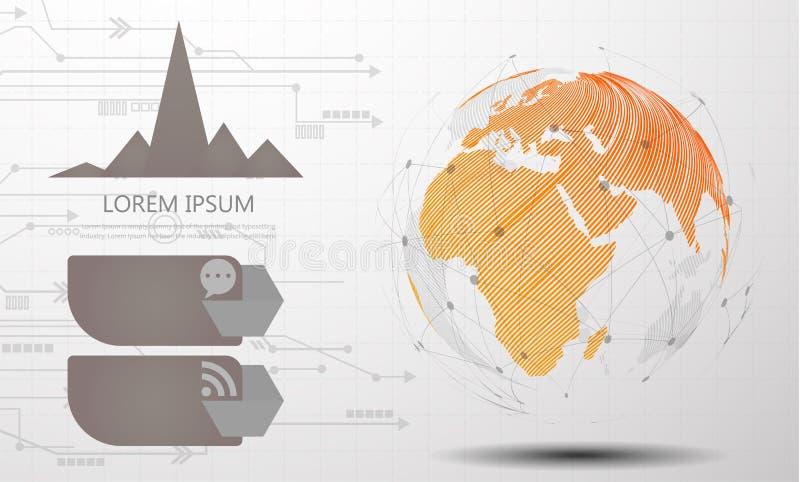 Abstrakt begrepp för anslutning för globalt nätverk av världsnätverket, internet och infographicsalternativmallen royaltyfri illustrationer