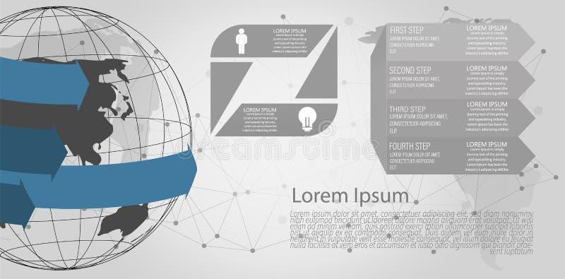 Abstrakt begrepp för anslutning för globalt nätverk av världsnätverket, internet och infographicsalternativmallen vektor illustrationer