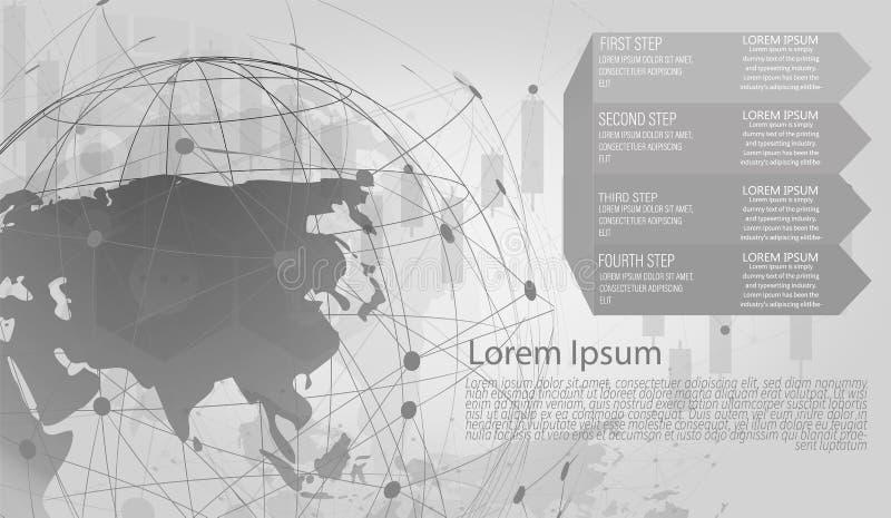 Abstrakt begrepp för anslutning för globalt nätverk av världsnätverket, internet och infographicsalternativmallen stock illustrationer