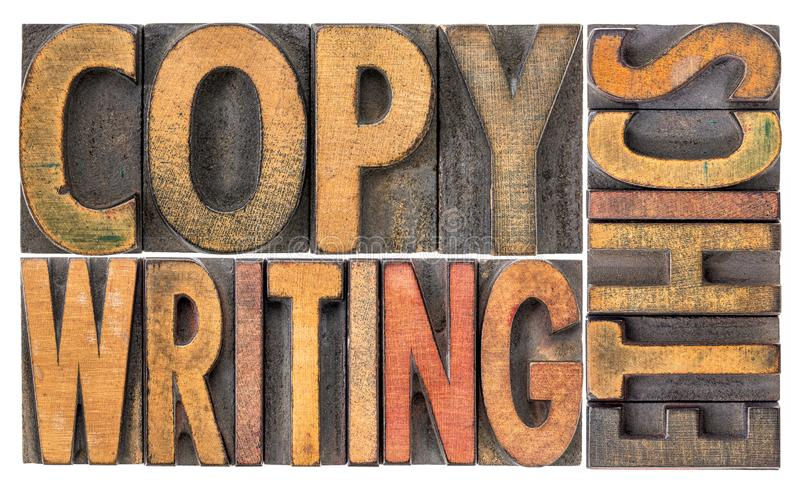 Abstrakt begrepp för Copywriting etikord i trätyp royaltyfria foton