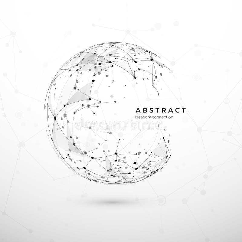 Abstrakt begrepp för globalt nätverk Rengöringsdukstrukturen, knutpunkt förtjänar Prickar och anslutningsingrepp Bakgrund för sfä vektor illustrationer