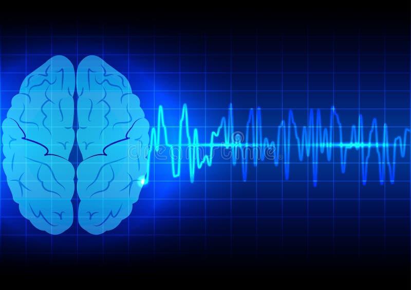 Abstrakt begrepp för hjärnvåg på blå bakgrundsteknologi royaltyfri illustrationer