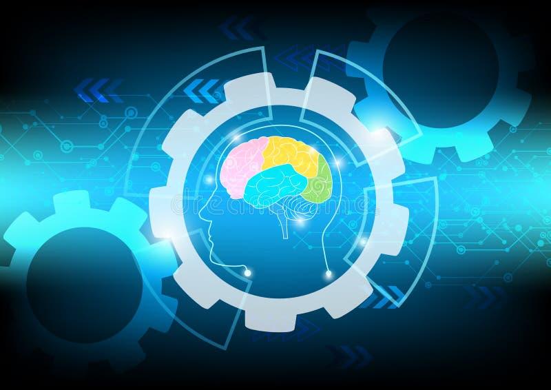 Abstrakt begrepp för hjärnvåg på blå bakgrundsteknologi vektor illustrationer
