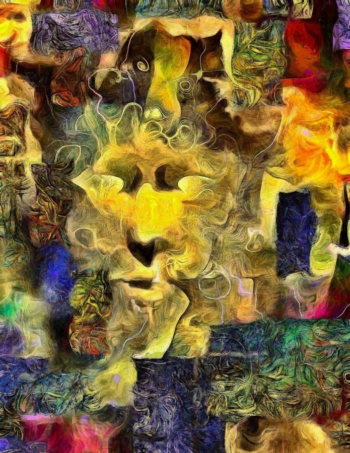 Abstrakt begrepp för mänsklig framsida stock illustrationer