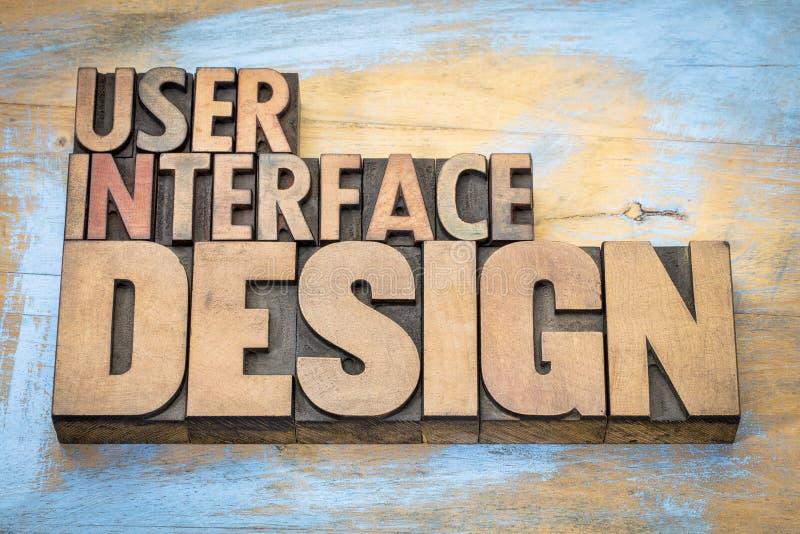 Abstrakt begrepp för ord för användargränssnittdesign i wood typ arkivbilder