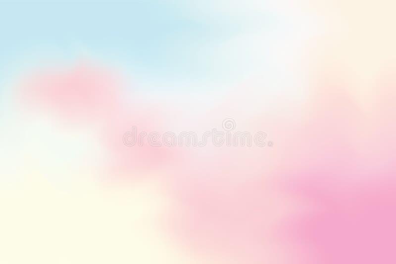 Abstrakt begrepp för pastell för konst för målning för bakgrund för blå mjuk färg för rosa färger blandat, färgrik konsttapet stock illustrationer