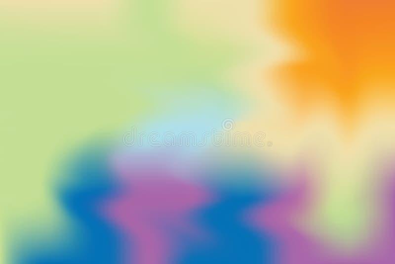 Abstrakt begrepp för pastell för konst för målning för bakgrund för grön färg för apelsinblått mjuk blandat, färgrik konsttapet vektor illustrationer