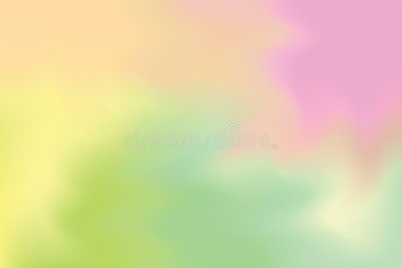 Abstrakt begrepp för pastell för konst för målning för bakgrund för gul färg för rosa färggräsplan mjuk blandat, färgrik konstwal stock illustrationer