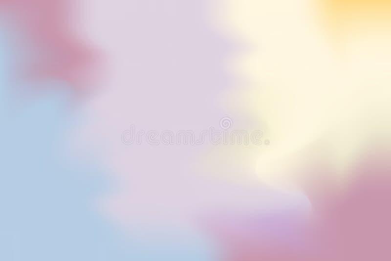 Abstrakt begrepp för pastell för konst för målning för bakgrund för mjuk färg för lilagulingblått blandat, färgrik konsttapet royaltyfri illustrationer