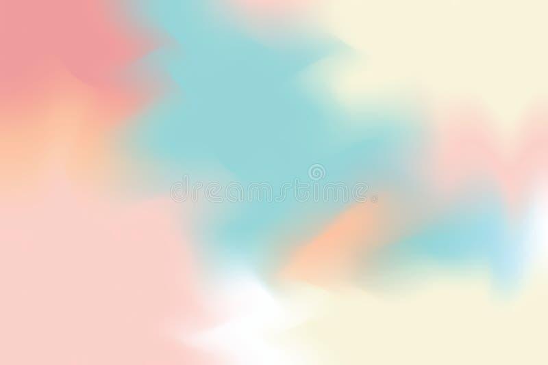 Abstrakt begrepp för pastell för konst för målning för bakgrund för mjuk färg för rosa färgblåttguling blandat, färgrik konsttape stock illustrationer