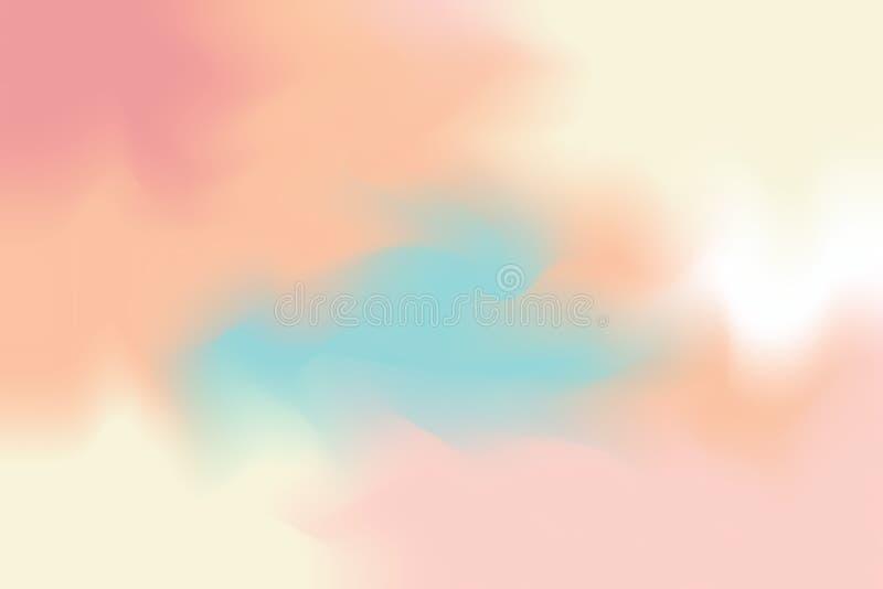 Abstrakt begrepp för pastell för konst för målning för bakgrund för mjuk färg för rosa färggulingblått blandat, färgrik konsttape vektor illustrationer
