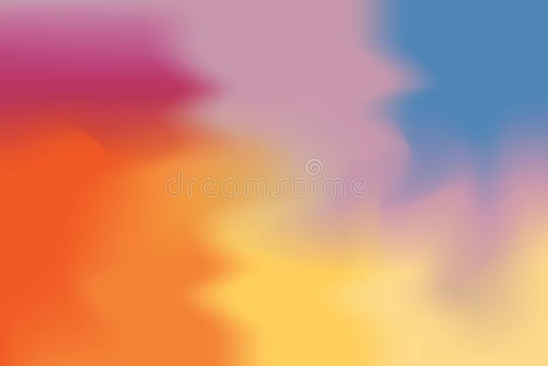 Abstrakt begrepp för pastell för konst för målning för bakgrund för rosa för orange guling färg för blått mjuk blandat, färgrik k vektor illustrationer