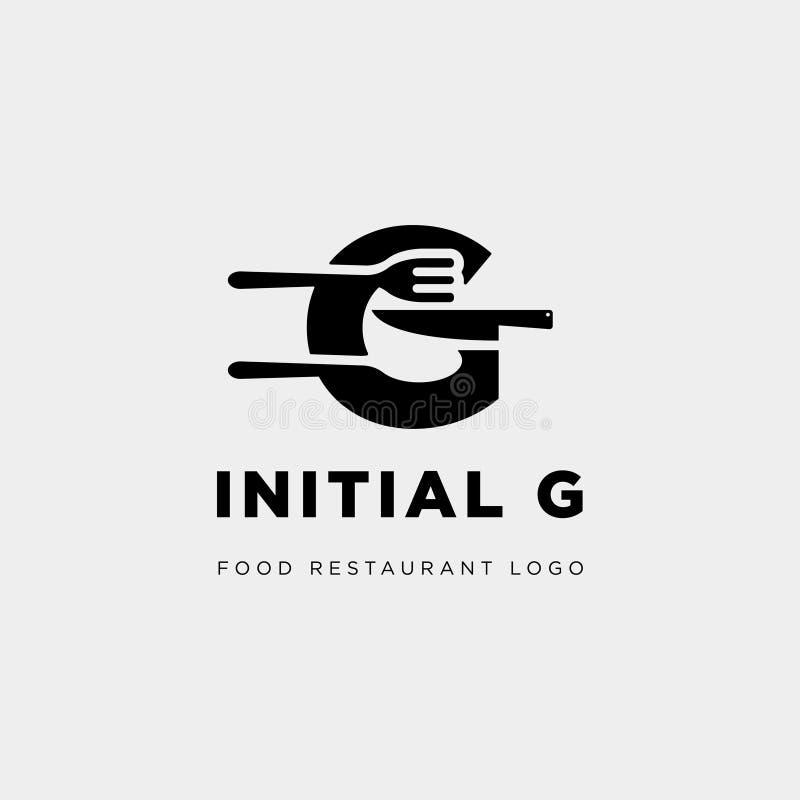 abstrakt begrepp för symbol för mall för logo för initial G-matutrustning enkelt vektor illustrationer