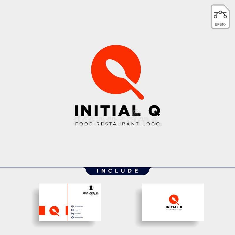 abstrakt begrepp för symbol för mall för logo för initial q-matutrustning enkelt stock illustrationer