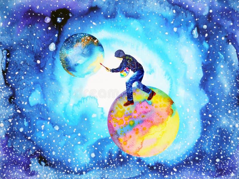 Abstrakt begrepp för universum för måne för värld för målning för illustratörkonstnärman royaltyfri illustrationer